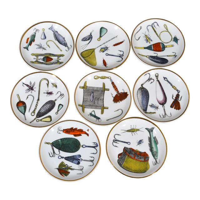 Piero Fornasetti La Pesca Fishing Lures Coaster Set With Original Box For Sale