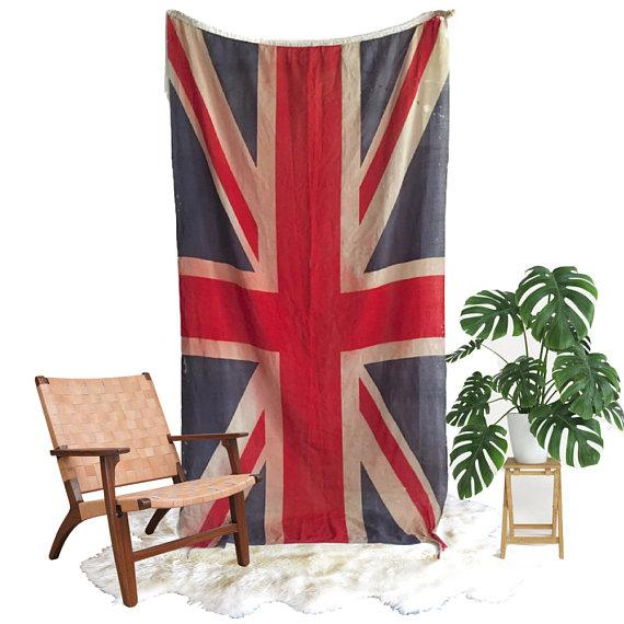 Absolutely Stunning Vintage Union Jack Paper Thin Linen Flag with distressed patina, tattered ends, and a few holes. It...