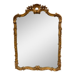Early 20th Century Antique Carved Giltwood Gold Mirror For Sale