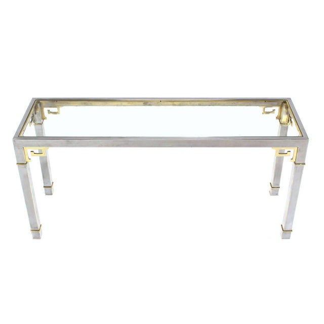 Chrome Brass & Glass Console Table by Mastercraft For Sale - Image 9 of 9