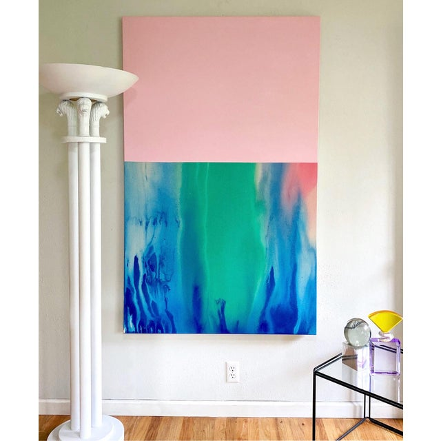 Large scale color field abstract original painting on gallery wrapped stretched canvas, presented in a simple wood frame....