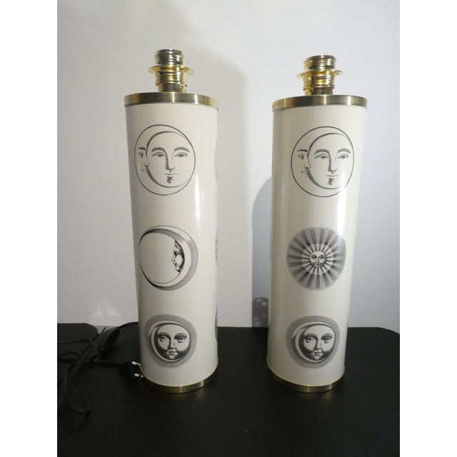 Vintage Large Iconic Fornasetti Table Lamps -A Pair sold as found in very good condition with original european plugs and...