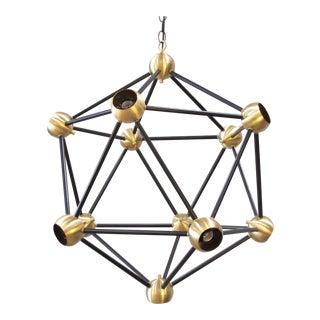 Mid-Century Modern Black & Brass Large Pendant Light For Sale