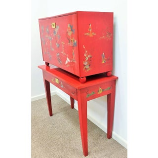 Japanese Style Red Lacquer Fall-Front Chest, 20th Century Preview
