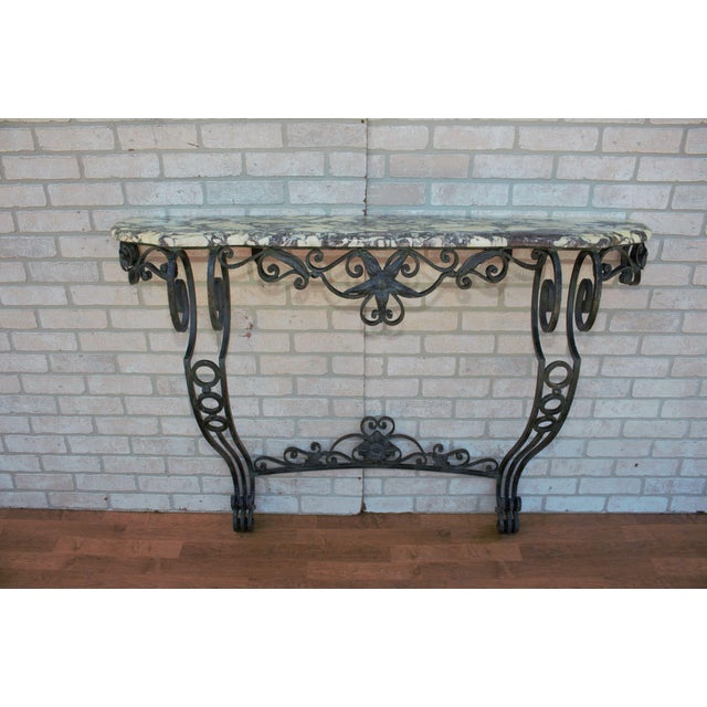 Victorian Antique French Victorian Wrought Iron Base Console Table For Sale - Image 3 of 13