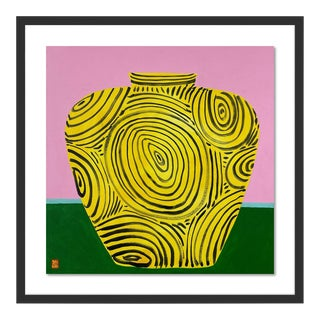 Yellow Vase by Jelly Chen in Black Framed Paper, Large Art Print For Sale
