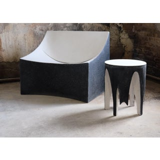 Cast Resin 'Corridor' Side Table, Black and White Finish by Zachary A. Design Preview