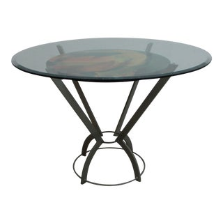 Vintage Post Modern Wrought Iron Bistro Glass Top Dinette Table For Sale