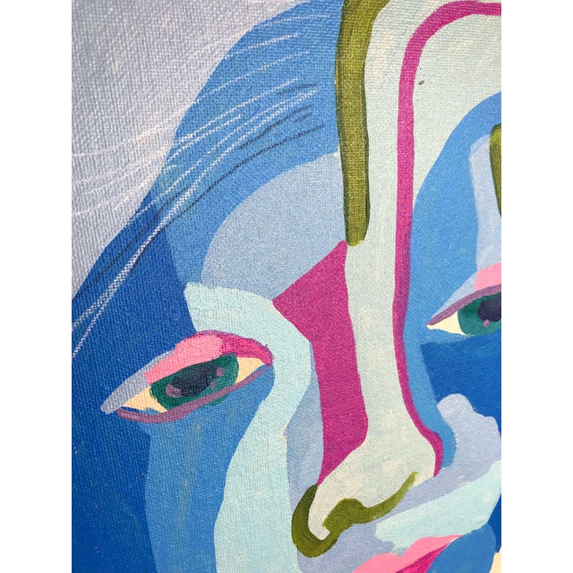 "Contemporary Abstract Portrait Painting ""Here We Go"" For Sale - Image 4 of 8"