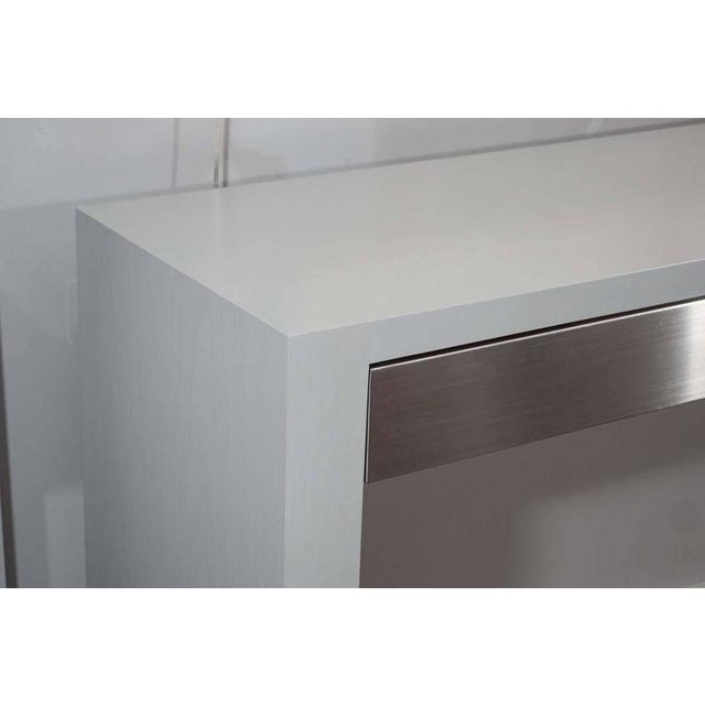 Modern Custom Gray Stained Console with Brushed Stainless Steel Drawers For Sale - Image 3 of 7