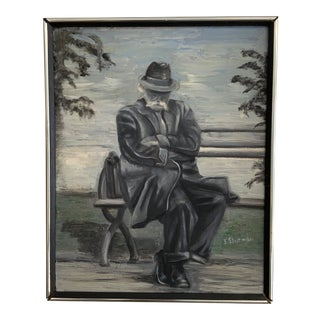 1970s Vintage Gentleman Napping on Bench Painting For Sale