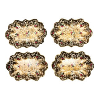Vintage Japanese Gold Tone Serving Trays For Sale
