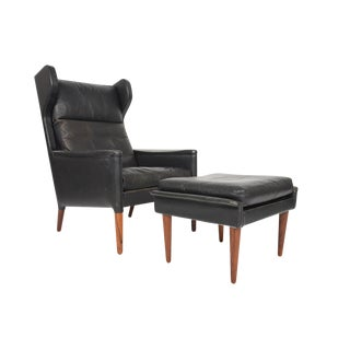 Kurt Østervig Wingback Leather Lounge Chair & Ottoman - A Pair For Sale