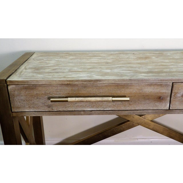 Contemporary Hooker Furniture Large Two Drawer Console Table For Sale - Image 3 of 7