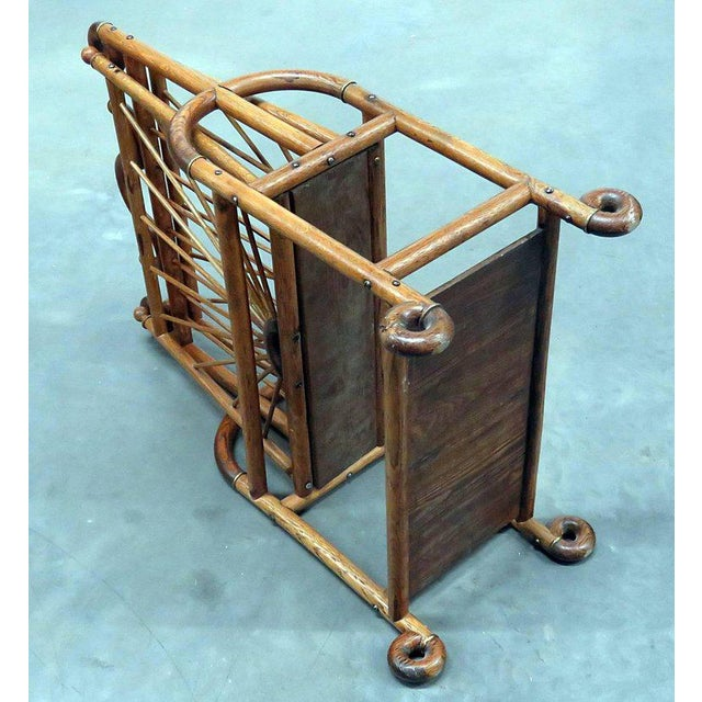 Bentwood Victorian Oak Magazine Rack For Sale - Image 7 of 10
