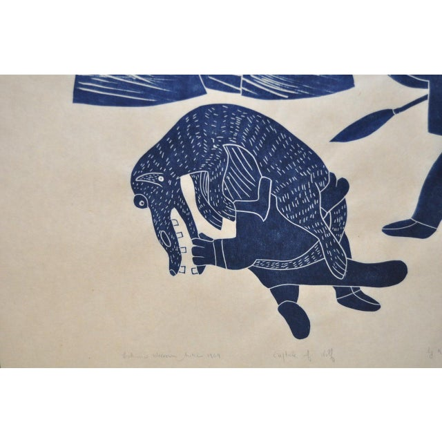 "Native American Helen Kalvak Inuit Western Arctic ""Capture of Wolf"" Silkscreen c.1969 For Sale - Image 3 of 9"
