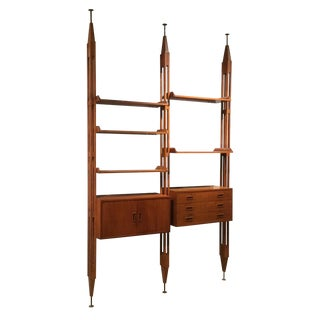 1960s Mid Century, by Designer Franco Albini, Teak Bookcase For Sale