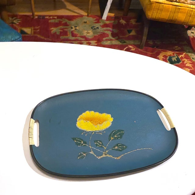 Turquoise Vintage Mid-Century Turquoise Fiberboard Large Oval Serving Tray For Sale - Image 8 of 8