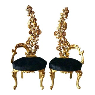 Italian Baroque Black Upholstered Gold Leaf Chairs - a Pair For Sale
