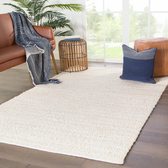 2010s Jaipur Living Canterbury Handmade Solid White/ Beige Area Rug - 2′6″ × 4′ For Sale - Image 5 of 6