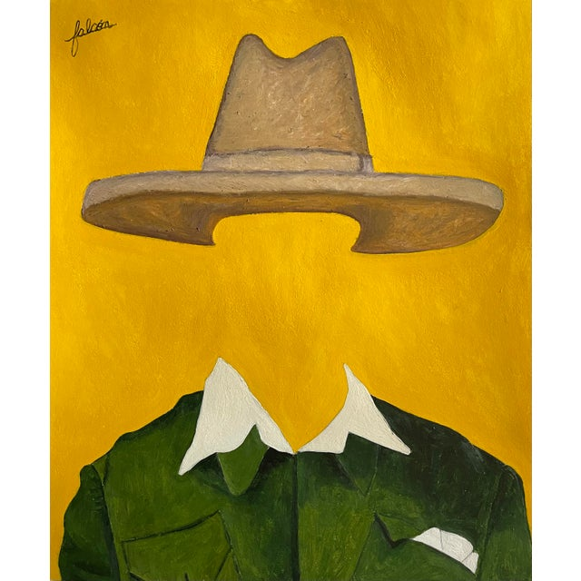 """""""Churchill"""" Contemporary Pop Art Surrealist Country Western Portrait Mixed-Media Painting For Sale"""