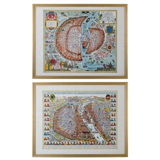 Historical Maps of Paris - a Pair For Sale