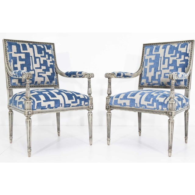 Newly upholstered in a couture jacquared with blue velvet and taupe jute linen weave. Chairs are restored and done ina...