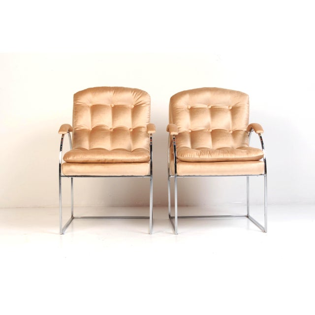 Metal 20th Century Milo Baughman Style Blush Velvet Chrome Chairs - a Pair For Sale - Image 7 of 7
