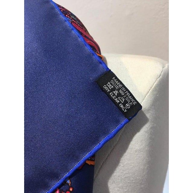 Hermes Legende Moghole Silk Scarf in Navy Blue For Sale In Philadelphia - Image 6 of 7