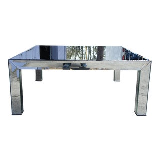 1980s Contemporary Square Beveled Mirrored Glass Coffee Cocktail Table For Sale