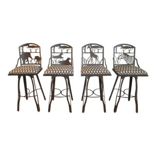 Custom Made Swivel Bar Stools With Animal Seat Backs - Set of 4