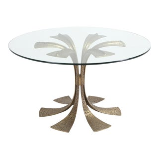 Hollywood Regency Hammered Brass Dining Table by Luciano Frigerio For Sale