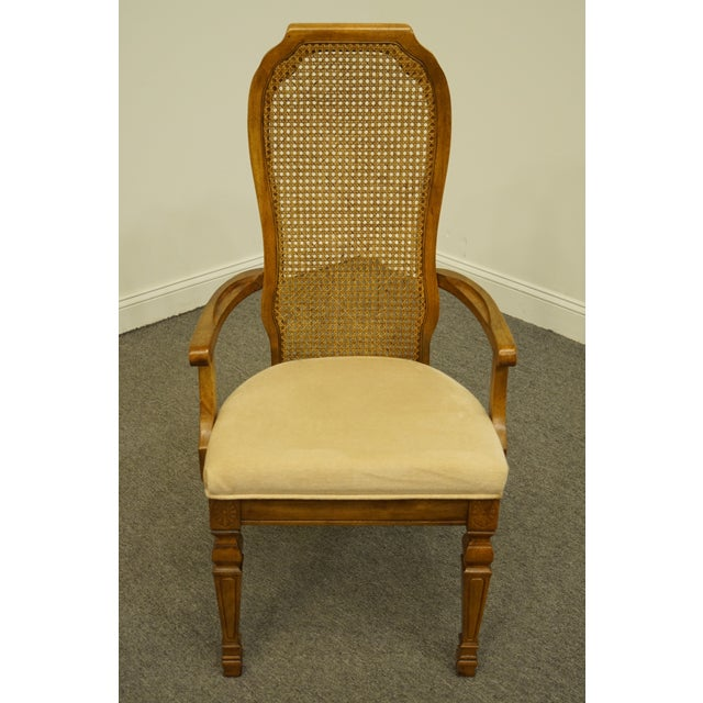Traditional Late 20th Century Bernhardt Furniture Italian Provincial Cane Back Dining Arm Chair For Sale - Image 3 of 11