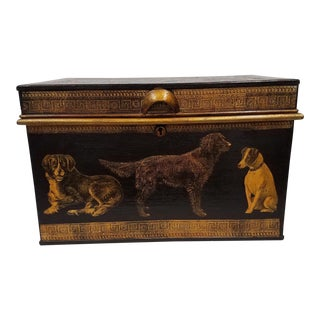 English Decoupaged Dog Metal Storage Box For Sale