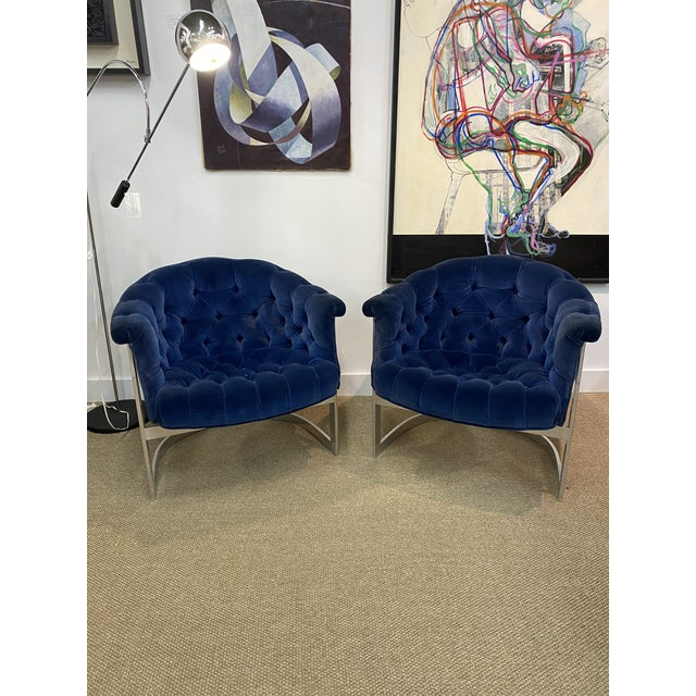 Chrome Vintage Milo Baughman Thayer Coggin Cantilever Chrome Tufted Club Chairs Navy Blue - a Pair For Sale - Image 8 of 8