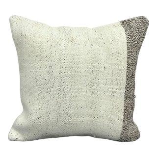 Turkish Organic White Decorative Kilim Pillow For Sale