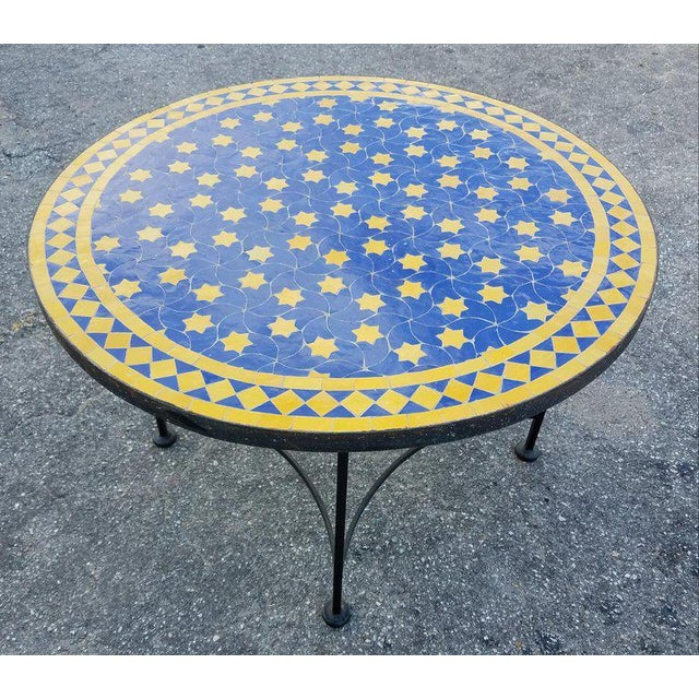 "Moroccan Blue / Yellow Mosaic Top Wrought Iron 32"" Table For Sale - Image 4 of 7"