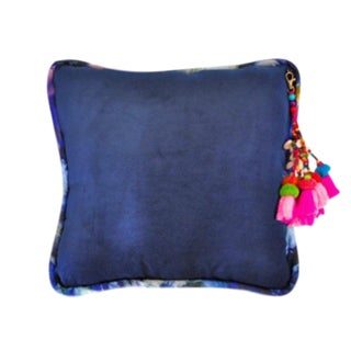 Navy / Bryony Storm Noir Velvet Throw Pillow For Sale