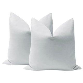 "22"" Dove Grey Velvet Pillows - a Pair For Sale"
