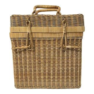 Vintage Lidded Wicker Wine Basket For Sale