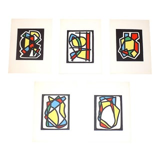 Vintage Mid 20th Century Abstract Lithographs-Ltd. Ed.-Listed French Artist-Set of 5 For Sale