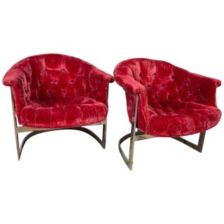 1970s Vintage John Stuart Tufted and Steel Club Chairs- A Pair For Sale