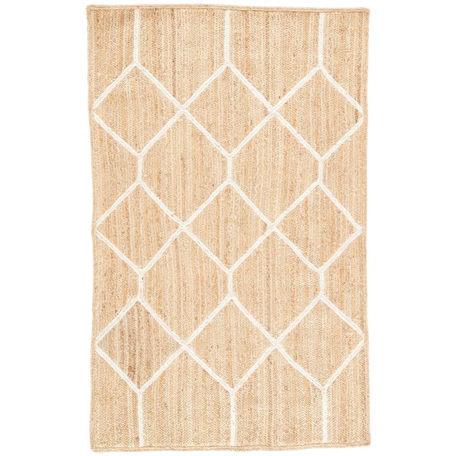 Nikki Chu by Jaipur Living Aten Natural Trellis Beige & White Area Rug - 5' X 8' For Sale