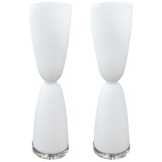 1970s Hollywood regency White Murano Glass Lamps - a Pair For Sale