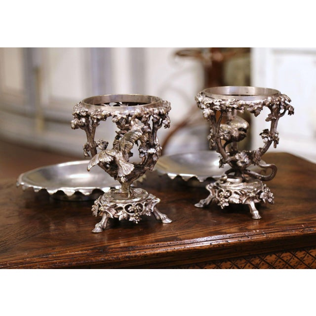 19th Century French Silvered Bronze Compotes Signed Christofle - a Pair For Sale - Image 4 of 10
