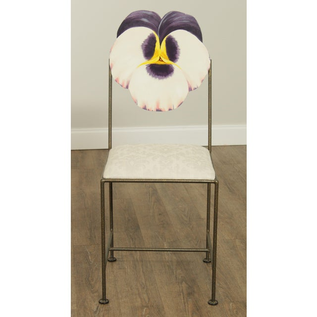 Mid-Century Modern Wrought Iron Hand Painted Flower Back Side Chair For Sale - Image 3 of 13