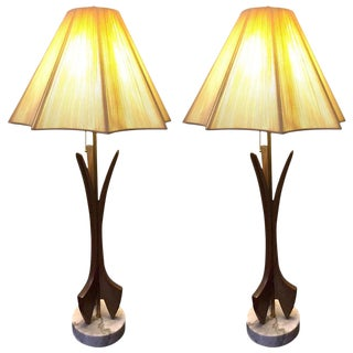 Pair of Mid-Century Modern Wood and Marble Lamps For Sale