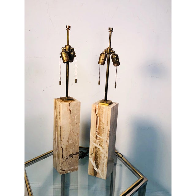 Gold Pair of Modern Brass and Marble Lamps For Sale - Image 8 of 8