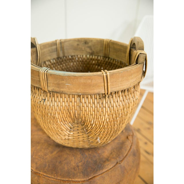 Wood Natural Vintage Willow Basket For Sale - Image 7 of 10