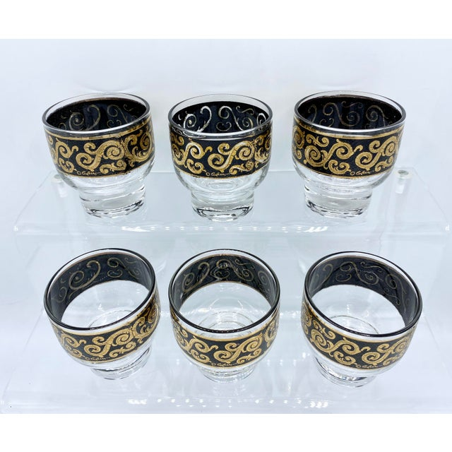 1950s Mid-Century Culver Black and 22k Gold Toledo Stemless Cocktail Glasses - Set of 6 For Sale - Image 9 of 11
